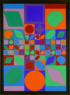 """""""Farbwelt"""" by VICTOR VASARELY - Abstract, Contemporary, Op Art, Acrylic, Tempera"""