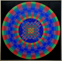Forgau - Original Tall OP Art Acrylic Painting - Handsigned - 1980