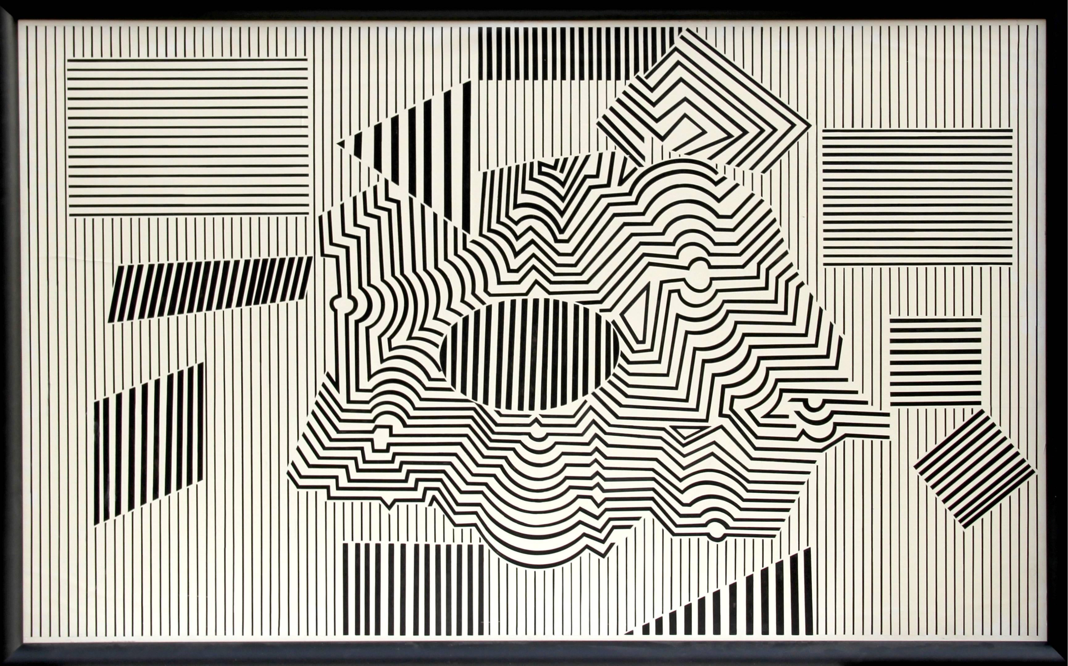 Operenccia, Large OP Art Painting by Victor Vasarely