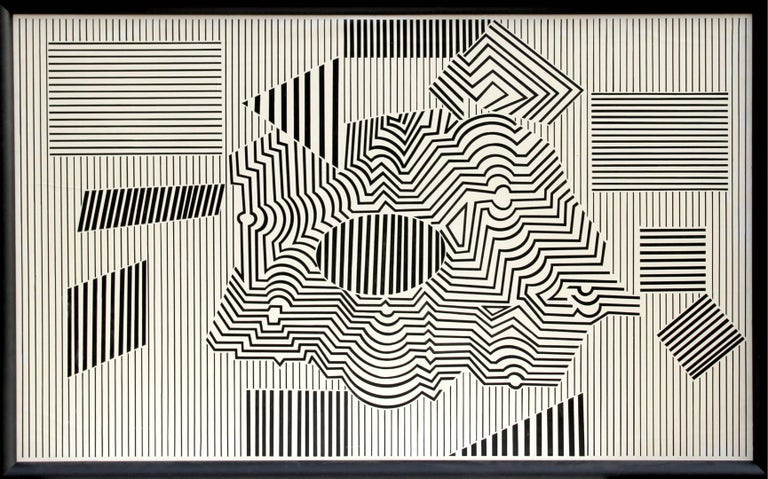 Artist: Victor Vasarely, Hungarian (1908 - 1997) Title: Operenccia Year: 1954/1986 Medium: Acrylic on Board, signed, dated and titled in marker verso Size: 40 in. x 66 in. (101.6 cm x 167.64 cm) Frame Size: 43 x 69 inches