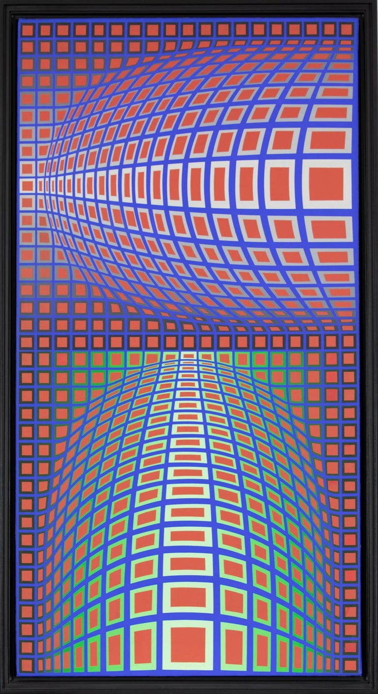 RENG-MC by Victor Vasarely - Op Art, Abstract painting For Sale 1