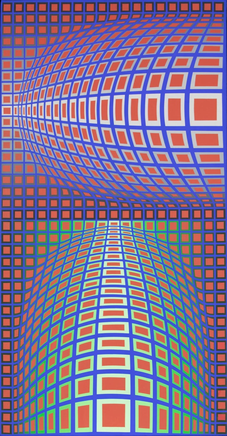 RENG-MC by Victor Vasarely (1906-1997) Acrylic on canvas 111.8 x 58.4 cm (44 x 23 inches) Signed lower center  Signed twice, titled and dated 1984 on the reverse Executed in 1984  Provenance Circle Gallery, San Francisco Private collection, USA