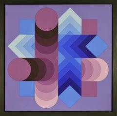 """TSALOKA-2"" by VICTOR VASARELY - Abstract, Contemporary, Op Art, Acrylic"