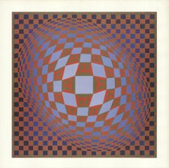 1985 Victor Vasarely 'Untitled' Cubism Offset Lithograph