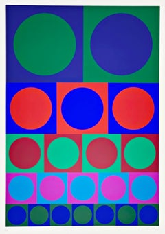 20th Century abstract Victor Vasarely, colored Screen Print,  Op Art