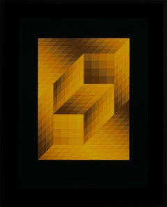 """Axo-Charga"" Large Framed Ltd Edition Hand-Signed Serigraph by Victor Vasarely"