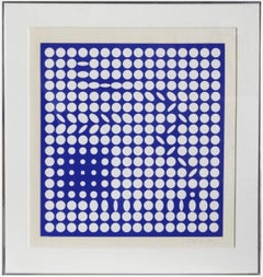 """""""Betelguese (Blue)"""" by Victor Vasarely, Silkscreen on paper, ca. 1965"""