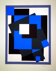Black And Blue Composition - 1980s - Victor Vasarely - Serigraph - Contemporary