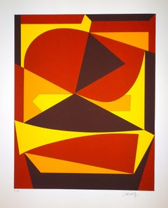 Brown And Yellow Composition - 1980s - Victor Vasarely - Serigraph - 1989