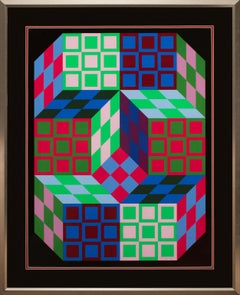 """Cardan"" Framed Limited Edition Hand-Signed Op-Art Serigraph by Victor Vasarely"