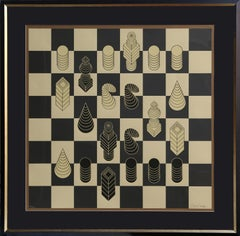 Chessboard, Framed Screenprint by Vasarely 1975