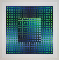 """Composition I (Noir et Bleu)"" by Victor Vasarely"