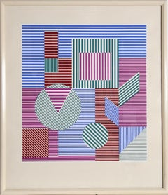 Fondau, Framed OP Art Silkscreen by Victor Vasarely
