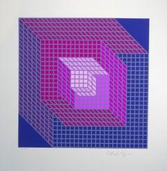 Geometrische Komposition - Violet - Victor Vasarely - Serigraph - Contemporary