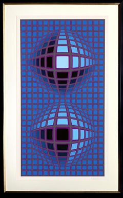 Kardoe, Framed OP Art Silkscreen by Victor Vasarely