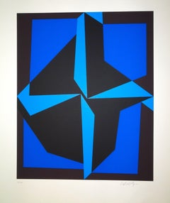 Mixed Blue Composition  - 1980s - Victor Vasarely - Serigraph - Contemporary