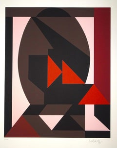 Mixed Pink Composition - Original Screen Print by V. Vasarely - 1989