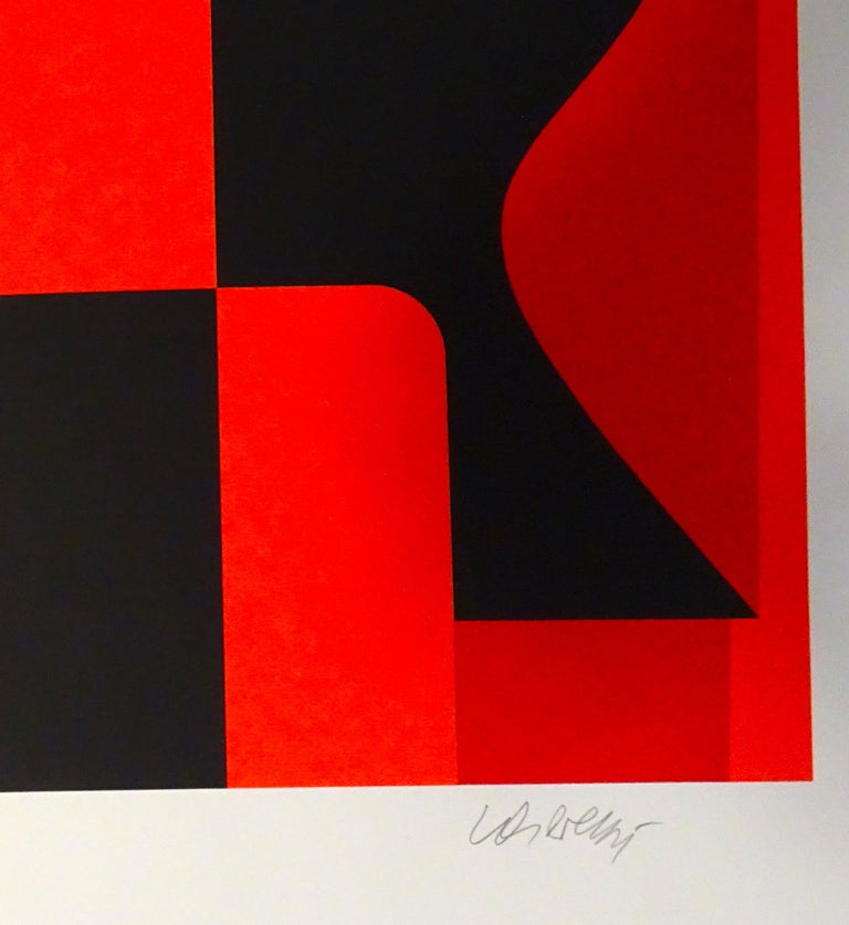 Mixed Red Composition is a very nice serigraph with a red, orange, brown, and black abstract composition realized by Victor Vasarely. The plate is from the portfolio Les Années Cinquante edited by Pesti Mühely, Budapest, in 1989. Hand-signed by the