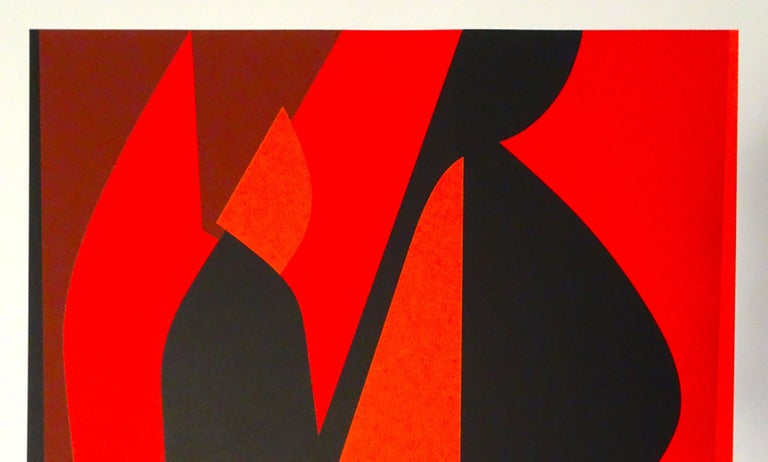 Mixed Red Composition - 1980s - Victor Vasarely - Serigraph - Contemporary For Sale 1