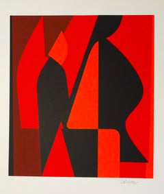 Mixed Red Composition - 1980s - Victor Vasarely - Serigraph - Contemporary