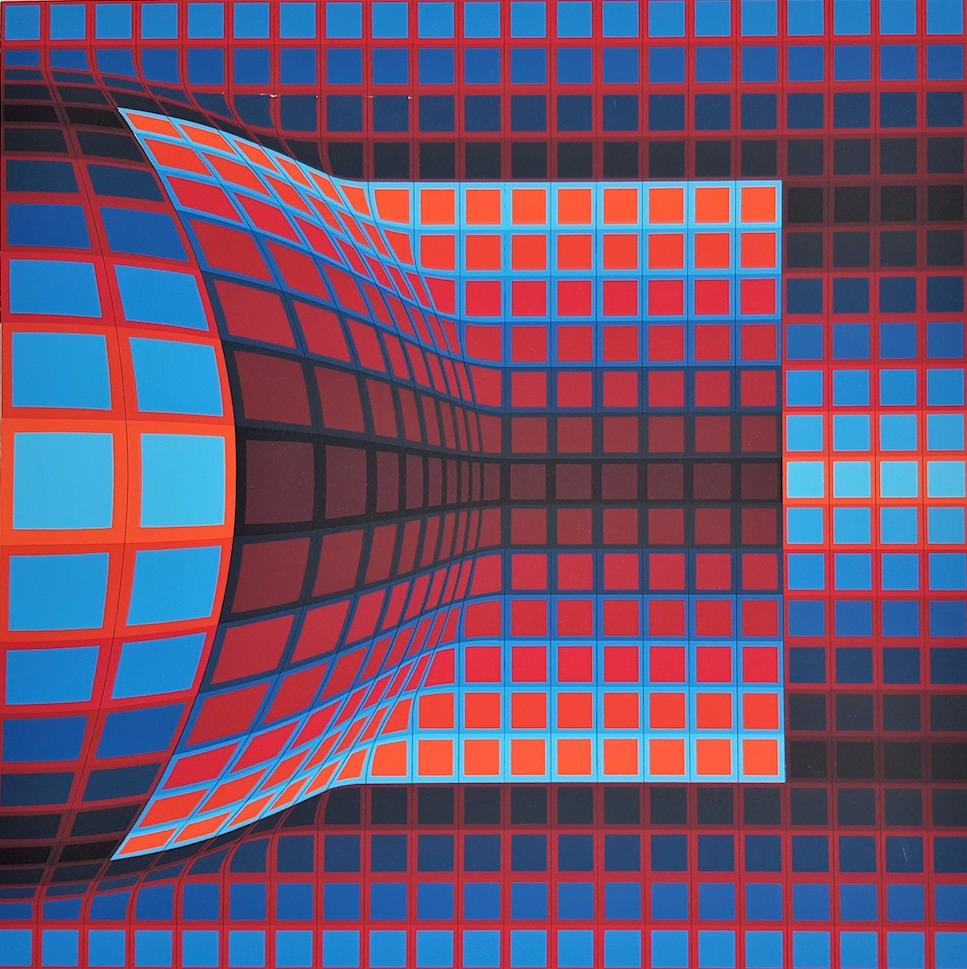 """Lithograph """"Optical Cube"""", 1975, hand-signed and numbered by Victor Vasarely"""