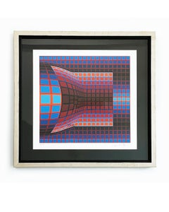 """Original hand-signed and numbered lithograph """"Optical Cube"""" by Victor Vasarely"""