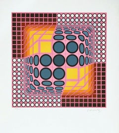 Pink Composition, Limited Edition Silkscreen, Victor Vasarely