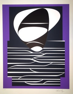Purple Composition - 1980s - Victor Vasarely - Serigraph - Contemporary