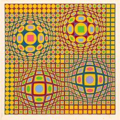 Quadrature, OP Art Screenprint by Vasarely