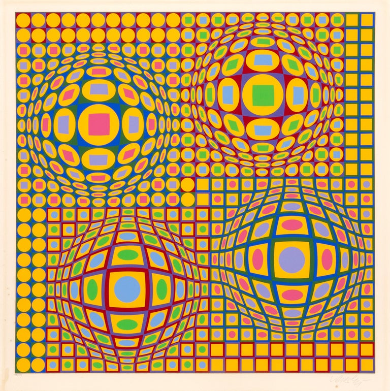 Victor Vasarely Abstract Print - Quadrature, OP Art Screenprint by Vasarely
