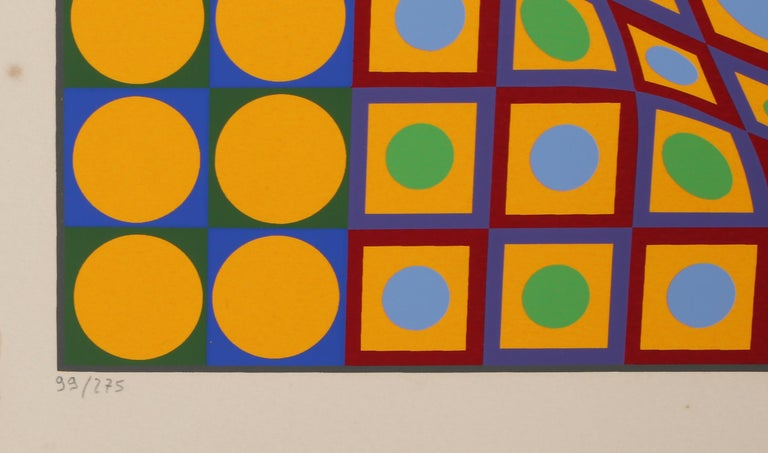Quadrature, OP Art Screenprint by Vasarely - Beige Abstract Print by Victor Vasarely