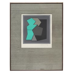 """Quamie"" Teal Geometric Abstract Lithograph"