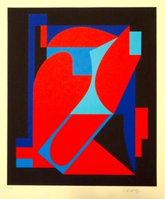 Red And Blue Composition - 1980s - Victor Vasarely - Serigraph - Contemporary