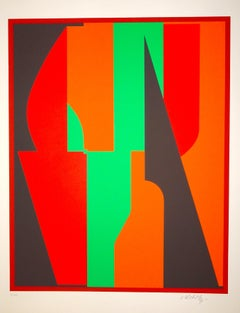 Red And Green Composition - 1980s - Victor Vasarely - Serigraph - Contemporary