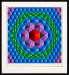 """Tetcie"" Large Limited Edition Hand-Signed Serigraph by Victor Vasarely, Framed"