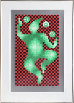 The Juggler, Framed Seriraph by Vasarely