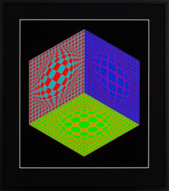 """Tri-Dagg"" Large Framed Limited Edition Hand-Signed Serigraph by Victor Vasarely"