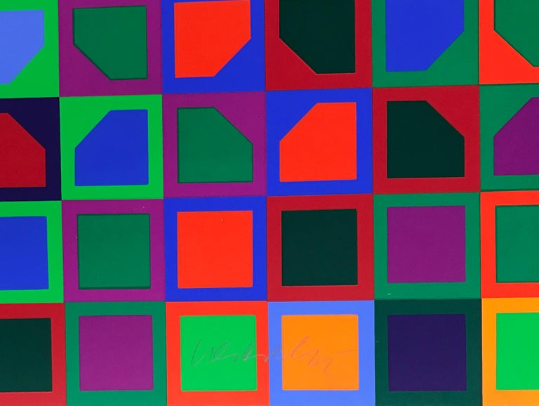 Untitled (School Print), Silkscreen in Colors, Op-Art, Geometric Abstraction - Black Abstract Print by Victor Vasarely