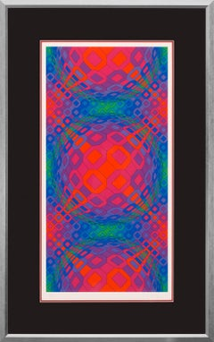 """Vegokta"" Framed Limited Edition Hand-Signed Op-Art Serigraph by Victor Vasarely"