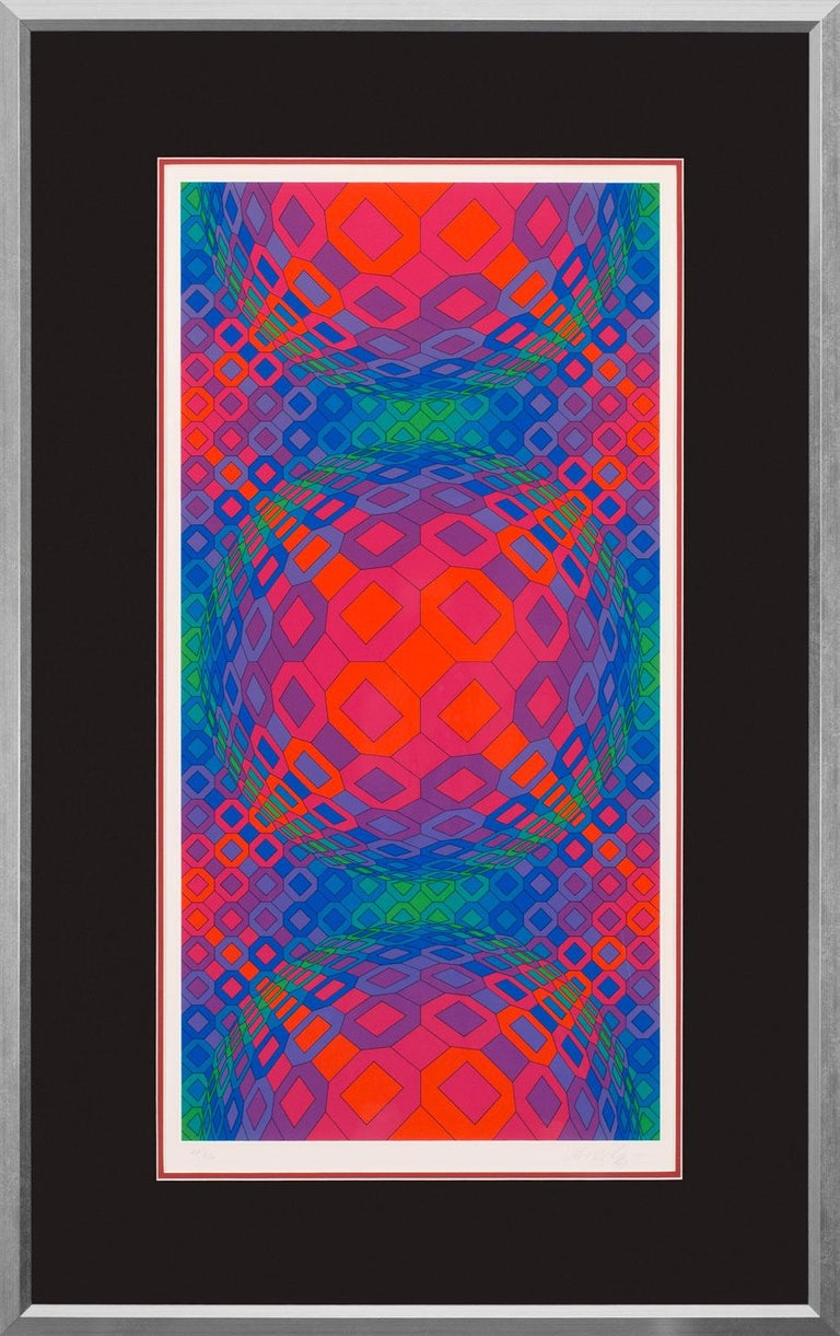 """""""Vegokta"""" an original serigraph by Victor Vasarely, is a piece for the true collector.Vasarely is considered the father of the Op-Art movement and developed an iconic style that is recognizable across the globe and has been widely collected for"""
