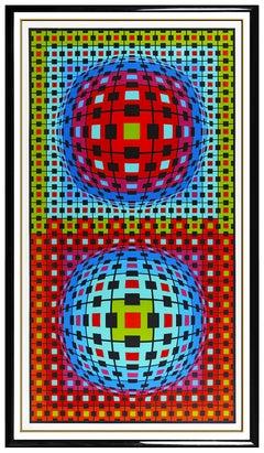 Victor Vasarely 72 x 40 Original Color Silkscreen Ionau Hand Signed Modern Art