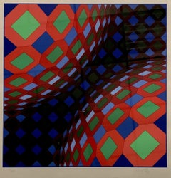 Victor Vasarely, Bi-Okta B,Composition Red,White,Green