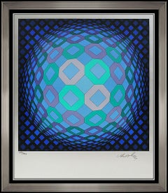 Victor Vasarely Color Screenprint Signed Original Modern Op Illusion Abstract