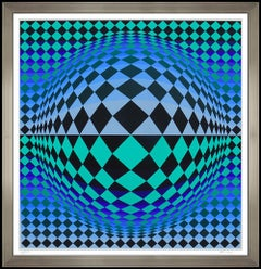 Victor Vasarely Color Silkscreen Collage Vega Signed Op Art Modern Illusion
