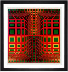 Victor Vasarely Color Silkscreen Hand Signed Modern Illusion Abstract Op Artwork