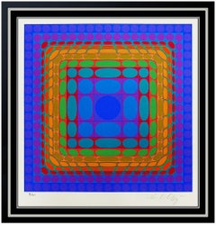 Victor Vasarely Color Silkscreen Hand Signed Modern Optical Illusion Vega Art
