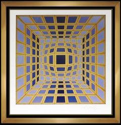 Victor Vasarely Datta Original Color Silkscreen Signed Modern Op Artwork Framed