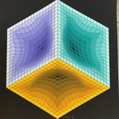 """Victor vasarely  """"Geometric structure black"""""""