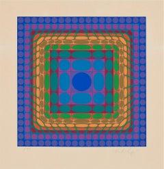 Victor Vasarely  'Koska-Sin' Serigraph, 1975