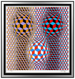 Victor Vasarely Large Silkscreen Signed Nebulous Modern Op Illusion Artwork SBO